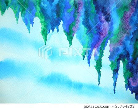 abstract cliff cave sky watercolor painting design 53704805