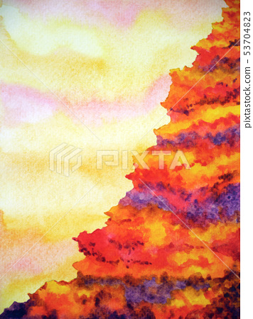 abstract mountain volcano hell cliff watercolor 53704823