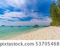 Tropical beach paradise and the blue sky  53705468