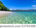 Tropical beach paradise and the blue sky  53705486