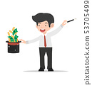 Businessman magician Holding Hat With coin 53705499