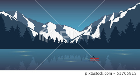 lonely canoeing adventure in the snowy mountains lake in the wilderness 53705915