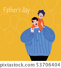 Father's day. Father has a child around his neck.  53706404