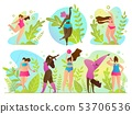 Set Exercise in Fresh Air Vector Illustration.  53706536