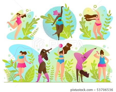 Set Exercise in Fresh Air Vector Illustration.  53706536