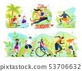 Flat Set Social Flyer Inscription I Love Summer. 53706632