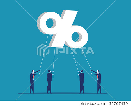 Business people trying to hold percent symbols. 53707459