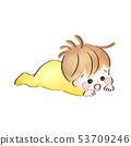 Sleeping baby, watercolor style 53709246