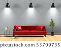 interior living lighting room brick wall with sofa 53709735