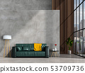 interior living room wall concrete with sofa 53709736
