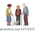 Happy elderly people. Old men and women. Flat cartoon vector illustration. 53712071