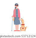 A blind girl wearing sunglasses with a seeing-eye dog. Disabled person. Flat cartoon vector 53712124