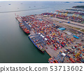 Aerial top view of container cargo ship in the 53713602