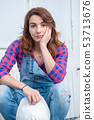 portrait of young engineer woman with safety hard 53713676