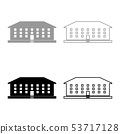 School building icon set grey black color 53717128