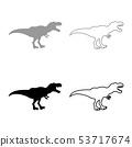 Dinosaur tyrannosaurus t rex icon set grey black 53717674
