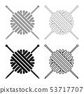 Ball of wool yarn and knitting needles icon set 53717707