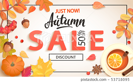 Autumn sale promo just now banner with discount. 53718095