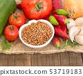 Raw Organic buckwheat and vegetables 53719183
