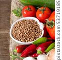 Raw Organic buckwheat and vegetables 53719185
