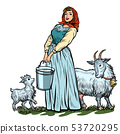 a village woman with bucket of milk goats isolate on white background 53720295