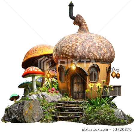 Acorn house and mushrooms 3D illustration 53720870