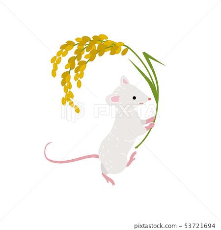 一隻老鼠例證,新年的卡片的材料,2020年 53721694