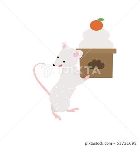 쥐 일러스트자를 년 연하장 소재 2020 년 53721695