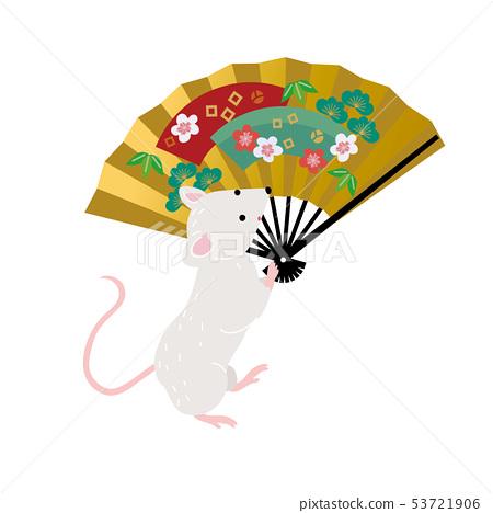 鼠標插圖兒童年2020年新年賀卡的材料 53721906