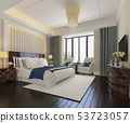 beautiful luxury bedroom suite in hotel with tv 53723057