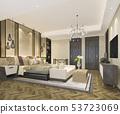 beautiful luxury bedroom suite in hotel with tv 53723069