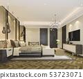 beautiful luxury bedroom suite in hotel with tv 53723071