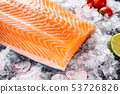 Raw salmon filet on the ice 53726826