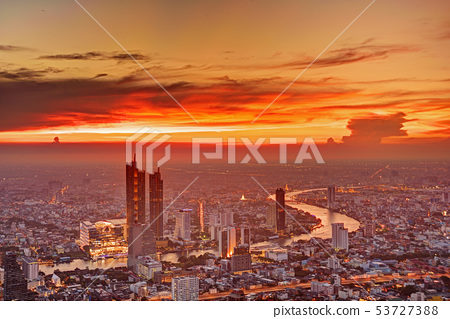 Bangkok city sunset 53727388