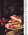 Toasts with goat cheese, grapes, nuts and honey 53728832