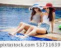 two beautiful Young Asian women in big summer hat 53731639