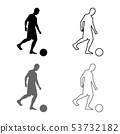 Man kicks the ball silhouette Soccer player 53732182