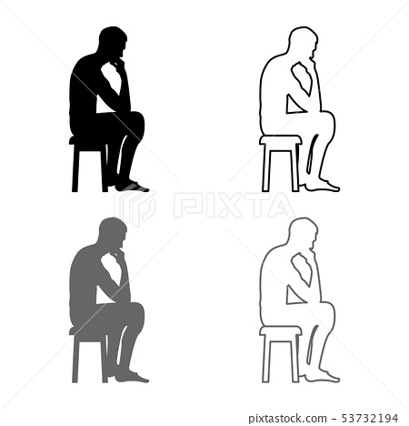 Thinking man sitting on a stool silhouette icon 53732194