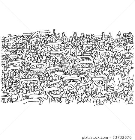 crowd of soccer fan cheering on stadium vector 53732670
