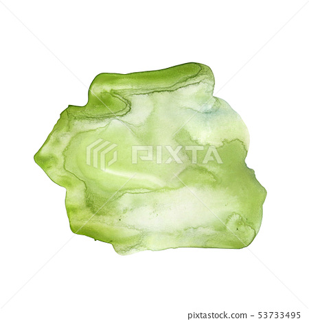 Green Watercolor stain. Juicy eco-friendly color. 53733495