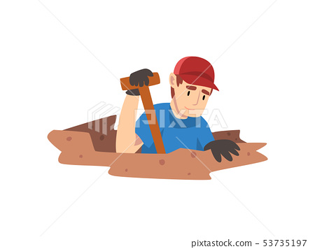 Male Archaeologist Digging Soil Layers, Scientist Working on Excavations Vector Illustration 53735197