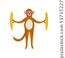 Monkey Playing Cymbals, Cute Cartoon Animal Musician Character Playing Musical Instrument Vector 53735227