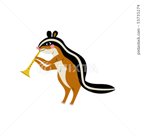 Gopher Playing Trumpet, Cute Cartoon Animal Musician Character Playing Musical Instrument Vector 53735274