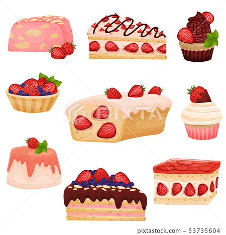 Set strawberry cupcakes. Vector illustration on white background. 53735604