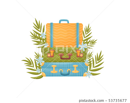Stack of three suitcases of different colors. Vector illustration on white background. 53735677
