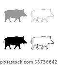Wild boar Wild pig Hog Warthog icon set black grey 53736642