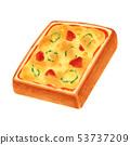 토스트 피자 두껍게 썬 각형 53737209
