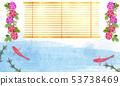 수채화 차가운 파란색과 금붕어와 나팔꽃 53738469