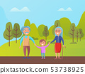 Grandparents Walking in Green Park with Grandson 53738925