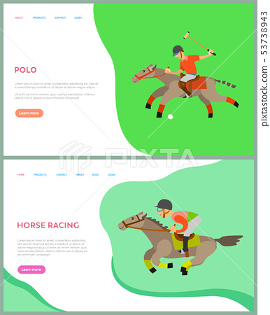 People Riding Horseback, Horse Racing, Polo Vector 53738943